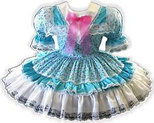 "44.5"" Aqua Floral White SATIN Adult Little Girl Baby Sissy Dress LEANNE"