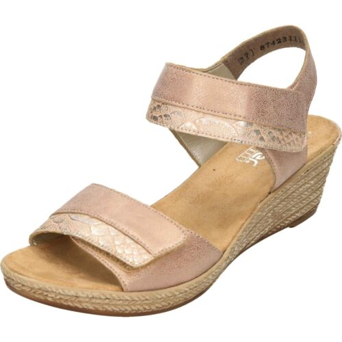 Rieker Wedge Heeled Platform Open Toe Sandals 62470-31 Metallic Pink Casual Shoe