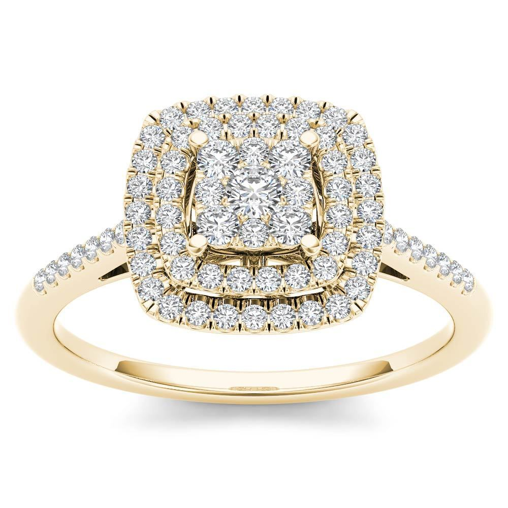 14K Yellow gold 0.33 Ct Brillant Diamond Cluster Engagement Ring