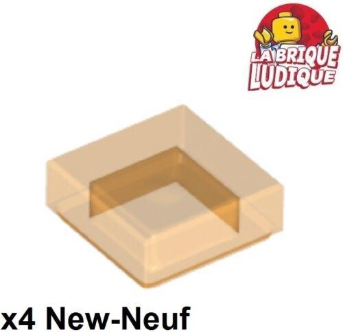 4x Tile plaque lisse 1x1 with Groove trans orange transparent 3070b NEUF Lego
