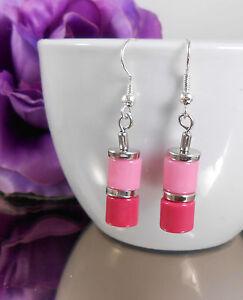 Walzen Ohrhänger in Rosa Pink mit Ohrhaken - Ohrschmuck