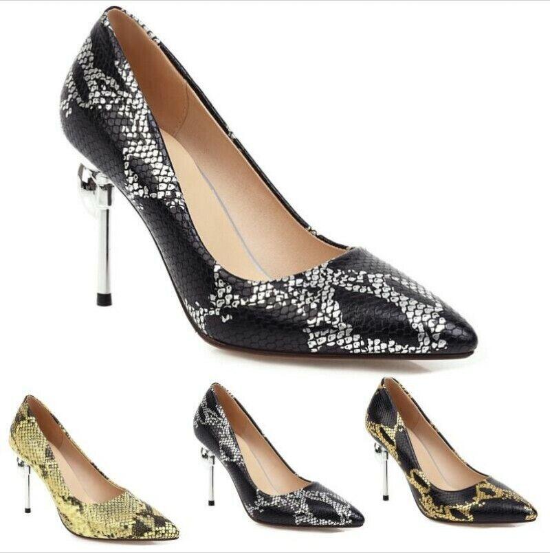 Women's Pointy Toe Stiletto High Heel Dress Court Print Snakeskin Shoes 34/54 L