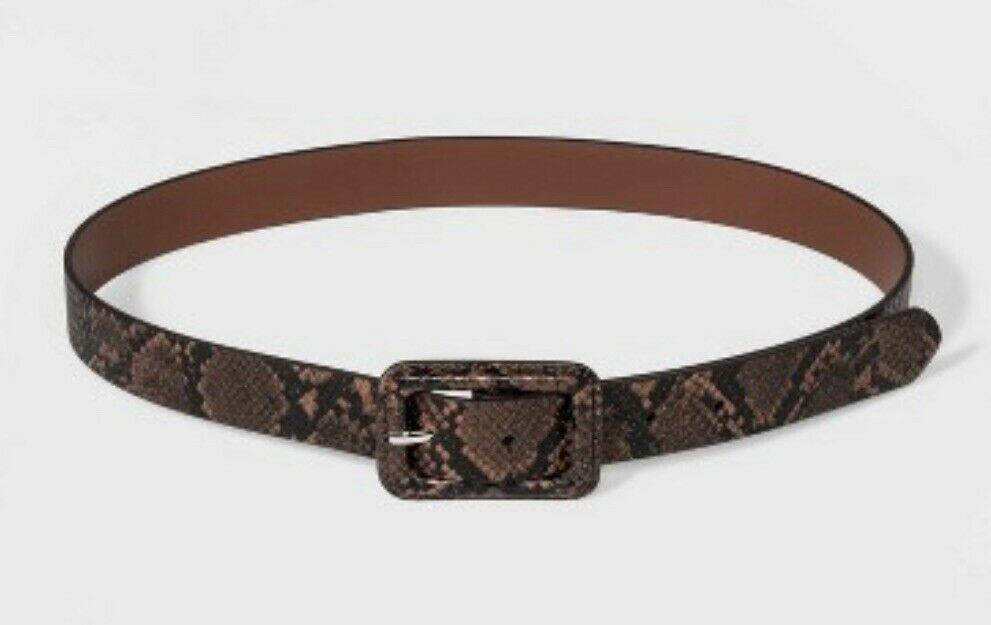 NEW Women's Wild Fable Covered Buckle Snake Belt - Brown Size XS