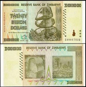 Image Is Loading 20 Billion Zimbabwe Dollar Za 2008 Money Currency