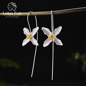 Handmade-Poetic-Clover-Long-Drop-Earrings-925-Sterling-Silver-Jewlery-for-Women