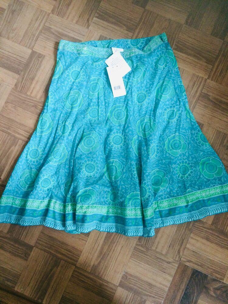 Anohki For East Blue 100% Coton Long Indien Imprimé Floral Taille 12 Uk