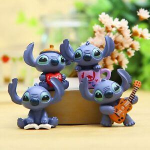 Disney-Lilo-amp-Stitch-Set-Of-4-1-034-Birthday-Cake-Topper-Figurines-Set