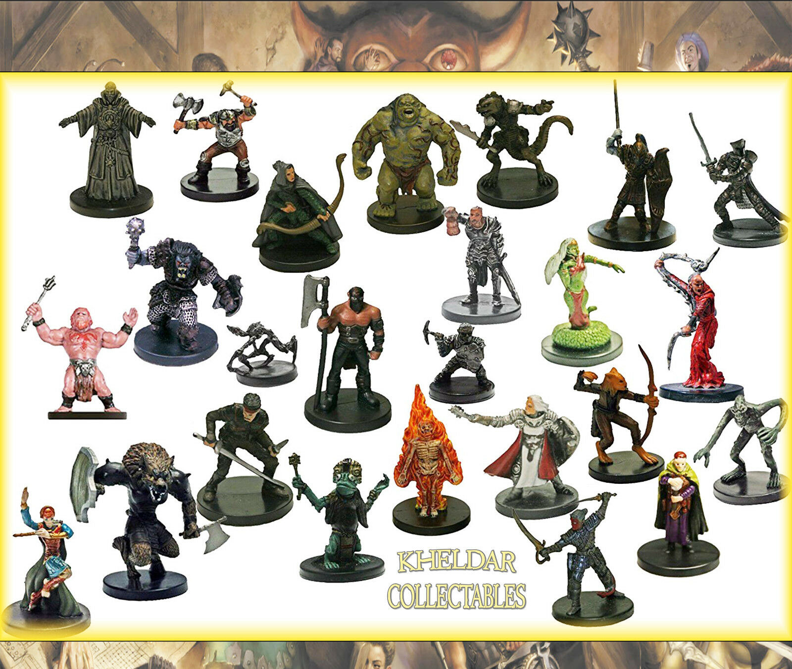 25 imballare lotto - Dungeons &Dragons   Pathfinder Miniatures, D&D cifra, RPG minis