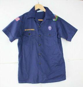 Boy-Scouts-of-America-Youth-Large-Blue-Scout-Uniform-Shirt-retro-vintage-USA