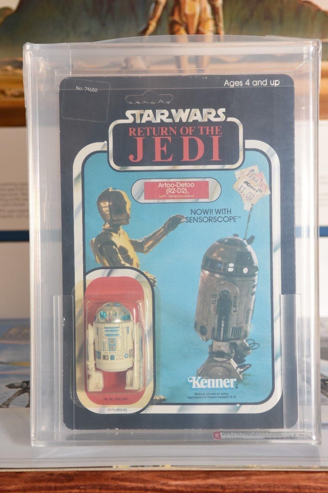 exclusivo Estrella Wars Vintage 1984 KENNER ENLOMADOR Regreso Regreso Regreso del Jedi 77 Back-un R2-D2 con Sensorscope 75+  contador genuino