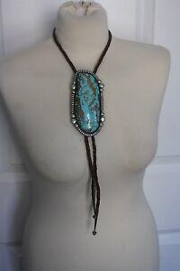 Navajo-Large-Single-Stone-Turquoise-Sterling-Bolo-Tie-Quail-Bird-Hallmark-178-g
