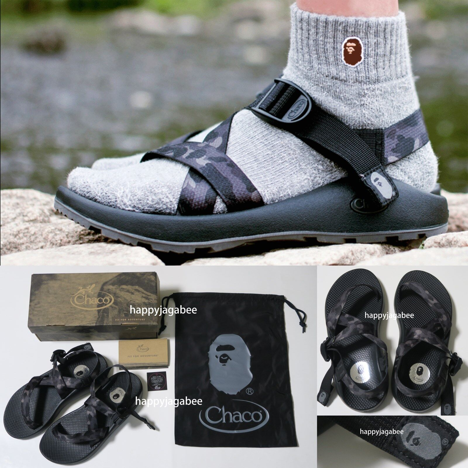 A BATHING APE Men's Footwear CHACO x BAPE Z1 SANDALS Black Camo Japan New