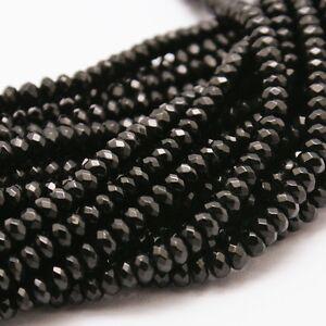 90 achat perlas natural negro 4mm rondell encararán piedras preciosas DIY g199#3