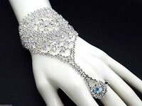 Bracelet Slave W Ring Ab Crystal Silver Plated Women
