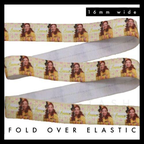"Yellow Wiggle Emma Fold Over Elastic FOE 5//8/"" 16mm per metre The Wiggles"