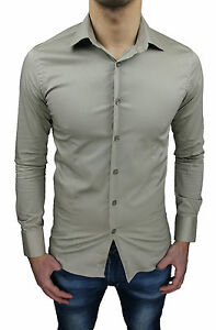 MEN-039-S-SHIRT-SLIM-FIT-COTTON-STRETCH-NEW-SMART-CASUAL-size-S-M-L-XL-XXL