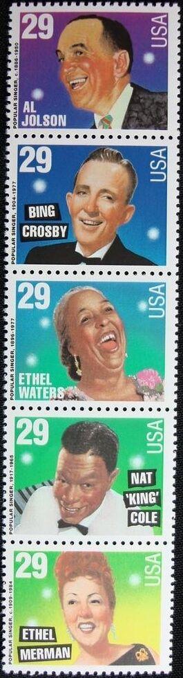 1994 29c Popular Singers, Strip of 5 Scott 2849-53 Mint