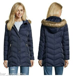 Kenneth Cole Reaction Navy Chevron Quilt Down Coat Jacket Faux Fur ... : kenneth cole chevron quilted coat - Adamdwight.com