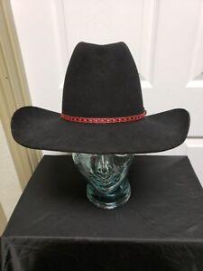 df186509a5202 RESISTOL 3X Beaver Cowboy Hat 6 7 8 Black Red Black Hat Band ...