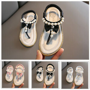 Toddler-Infant-Kids-Baby-Girl-Bowknot-Pearl-Princess-Thong-Fashion-Sandals-Shoes