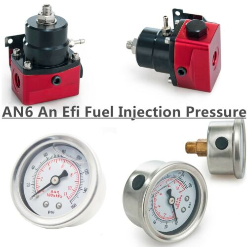 Universal Adjustable Fuel Pressure Regulator KIT 160psi Gauge AN 6 Fitting