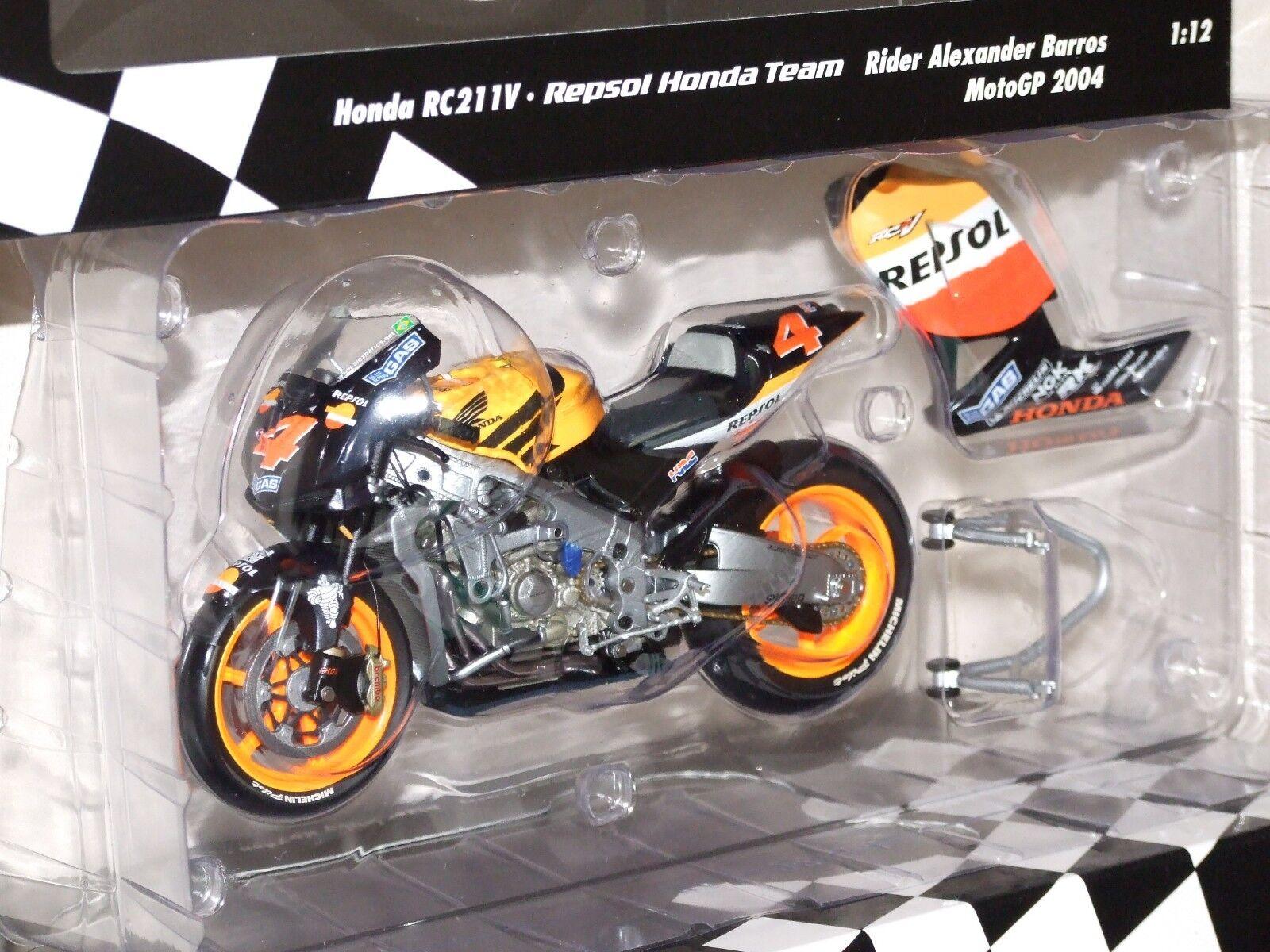 Minichamps 1 12 Repsol HONDA RC211V RC211V RC211V Alexander Barros 2004 MotoGP 122041004 458329