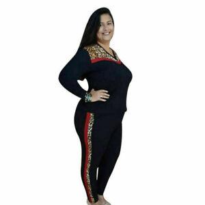 Womens 2PCS Leopard Print Crop Top Long Pants Suits Tracksuit Gym Lounge Wear