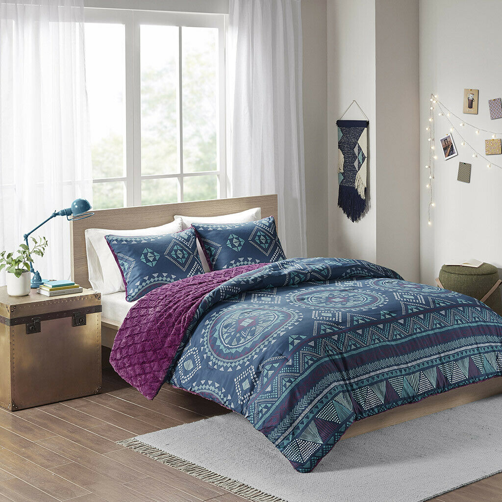 BEAUTIFUL ULTRA SOFT Blau lila NAVY TEAL TROPICAL SOUTHWEST COMFORTER SET NEW