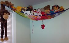 Deluxe Rainbow Pet Net - Stuffed Animal & Toy Organizer - Hammock blue trim flag