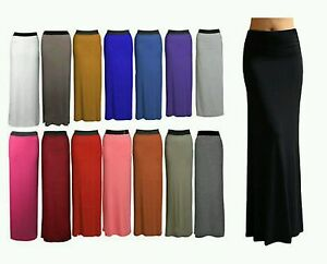 Ladies Gypsy Long Jersey Maxi Dress Skirt Womens Gypsy Bodycon Skirt Size 8-26
