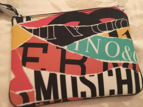 AW15 Moschino Couture X Jeremy Scott Multi-color Logo Eco-leather CLUTCH Pouch