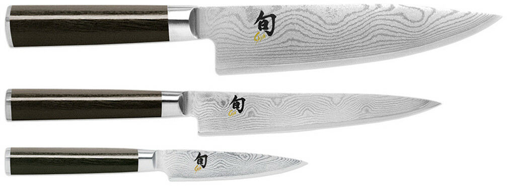 Shun Classic 3.5  Rant 6  Utility & 8  Chef's 3 piece starter kit couteau DMS300