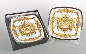 Set-of-6-Euro-Porcelain-Medusa-Bone-China-10-034-Square-Dinner-Plates-White-amp-Gold