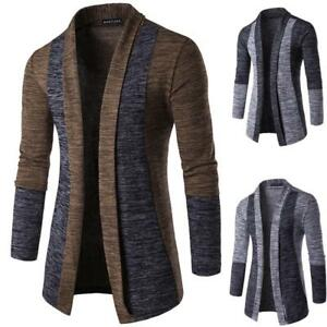 Stylish-Mens-Jacket-Slim-Fit-Solid-Knitted-Sweater-Jumper-Cardigan-Coat-Warm-Top