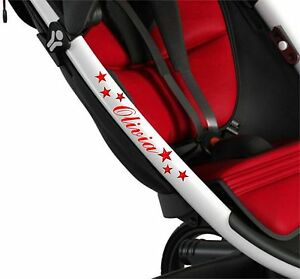PERSONALISED-PUSHCHAIR-STICKERS-STARS-Baby-Pram-Buggy-Stroller-Solo-Quinny-3D