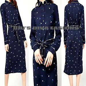 Ex-M-amp-S-Azul-Marino-Impreso-Con-Cinturon-Vestido-Midi-Camiseta-Size-UK-8-24-longitud-54-034