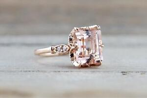2ct-Emerald-Cut-Peach-Morganite-Milgrain-Filigree-Vintage-Ring-14k-RoseGold-Over