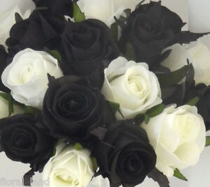 Silk wedding bouquet black white cream roses teardrop artificial image is loading silk wedding bouquet black white cream roses teardrop mightylinksfo