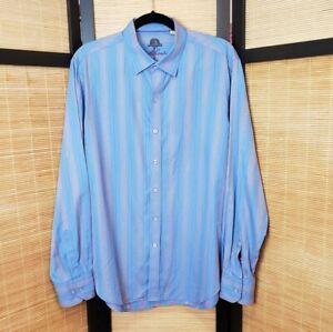 Robert-Graham-Men-039-s-Size-Large-Blue-Striped-Classic-Fit-Long-Sleeve-Dress-Shirt