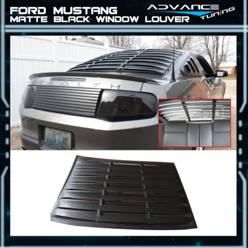 For 10-14 Ford Mustang V6 Rear Side Pair Window Louvers Black