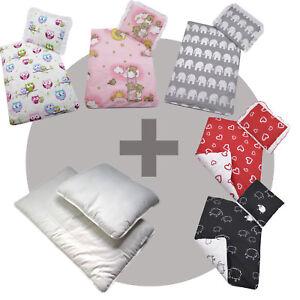 4 tlg set f r kinderwagen garnitur bettw sche decke kissen f llung 50 farben ebay. Black Bedroom Furniture Sets. Home Design Ideas