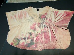 Lane-Bryant-Size-14-16-Poly-Tunic-Top-Blouse-BOHO-Floral-Beaded-Applique-Flower