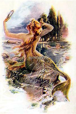 Vintage Mermaid and swimmer Quilting Fabric Block