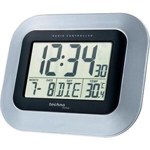 funk wanduhr mit gro em lcd display digital uhr funkuhr datum temperatur mond ebay. Black Bedroom Furniture Sets. Home Design Ideas