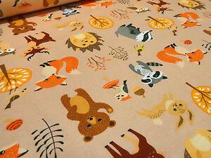 Stoff-Baumwolle-Jersey-Hirsche-Fuechse-Baeren-Eulen-beige-braun-orange-Kinderstoff