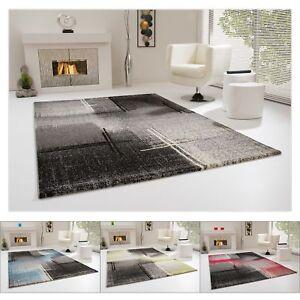 wohnzimmerteppich fabio teppich grau schwarz blau gr n rot kurzflor in 4 gr en ebay. Black Bedroom Furniture Sets. Home Design Ideas