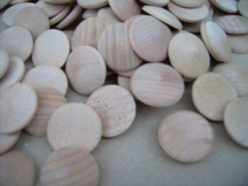 "PLAIN NATURAL COIN WOODEN DOMED 20x 1/"" HARDWOOD BUTTON. DISC UNFINISHED"