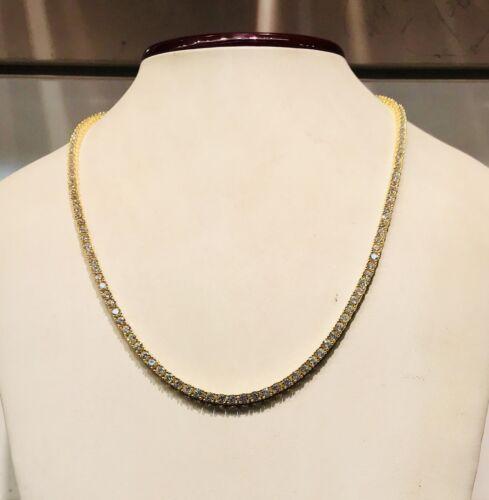 14K White Gold Over 925-19 Carat Round Cut VVS1//D Diamond Tennis 3mm Necklace