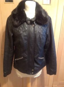8c0f07086 Details about WALLIS BLACK FAUX LEATHER BIKER JACKET DETACHABLE FAUX FUR  COLLAR UK SIZE14 WORN