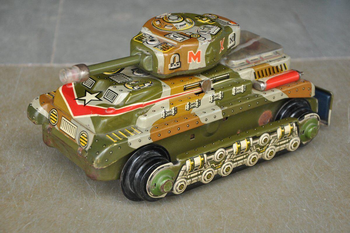 Batería Vintage T.n marca Litografía Militar Tanque De Guerra Juguete de hojalata, Japón